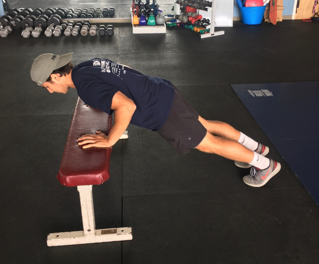 regressing the push-up with a bench